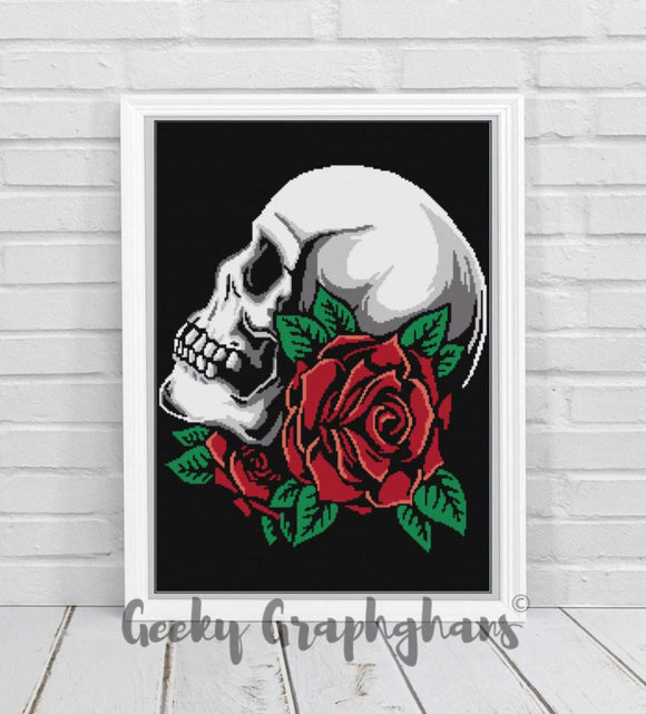 Rose Skull Crochet Graphghan Pattern