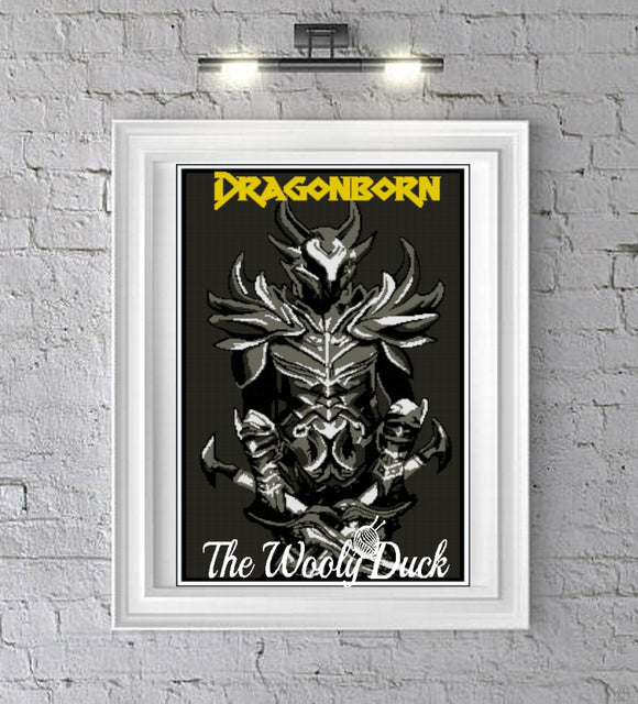 Dragonborn Skyrim Inspired graphghan pattern for sc, cross stitch , diamond painting
