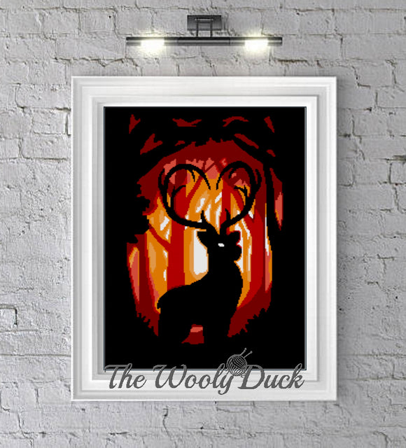 Cross Stitch Stag in the Woods Pattern
