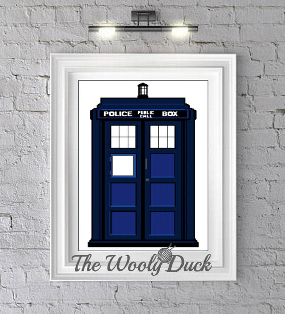 Doctor Who T.A.R.D.I.S. crochet graphghan pattern for single crochet