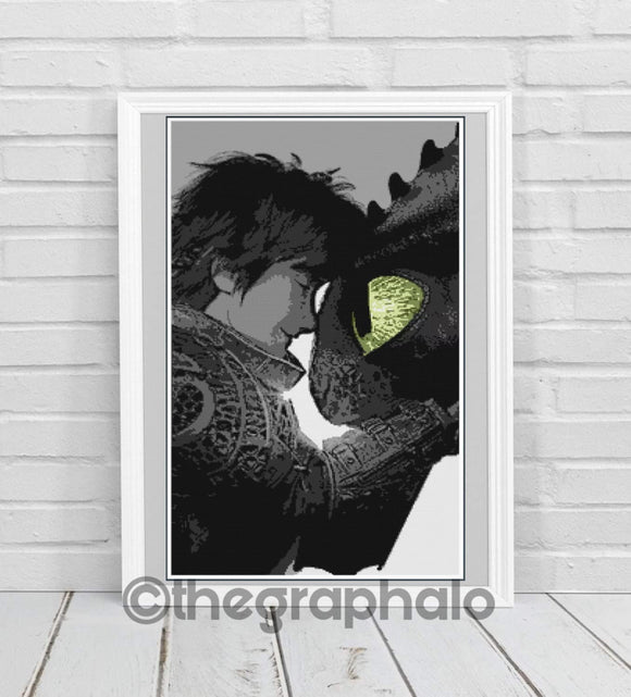 Toothless and Hiccup Cross Stitch Pattern