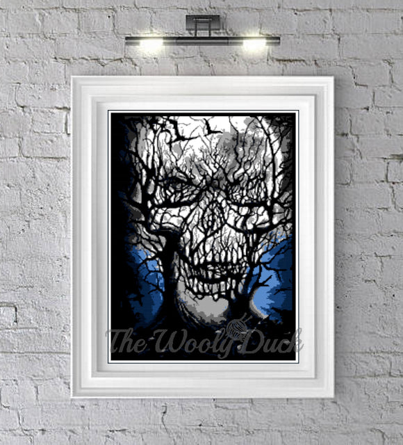 Cross Stitch Tree Skull Illusion Pattern