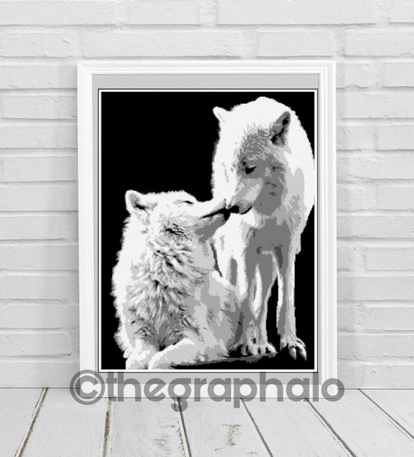 Wolves Crochet Graphghan Pattern Queen Size SC 240 x320