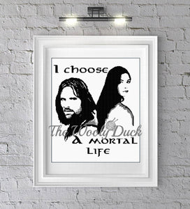 I choose Mortal Life, Arwen and Aragorn fan art graphghan pattern for single crochet/cross stitch/ diamond painting pattern  Tolkien