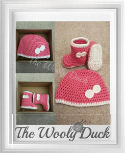 Hat and booties set crochet pattern