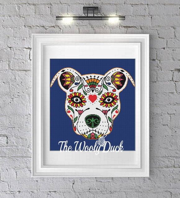 Sugar Skull Bulldog Crochet Graphghan Pattern