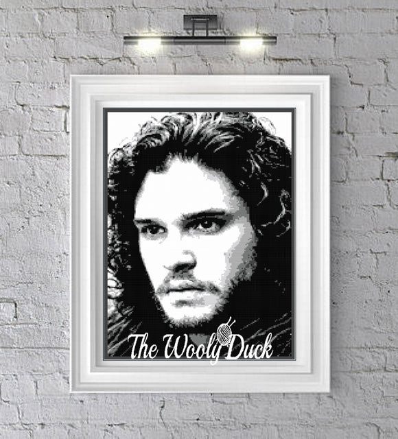 Jon Snow, ( Kit Harrington) 6 colours graphghan pattern for single crochet/cross stitch/ diamond painting pattern