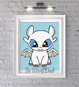 Baby Light Fury inspired graphghan pattern for single crochet/cross stitch/ diamond painting