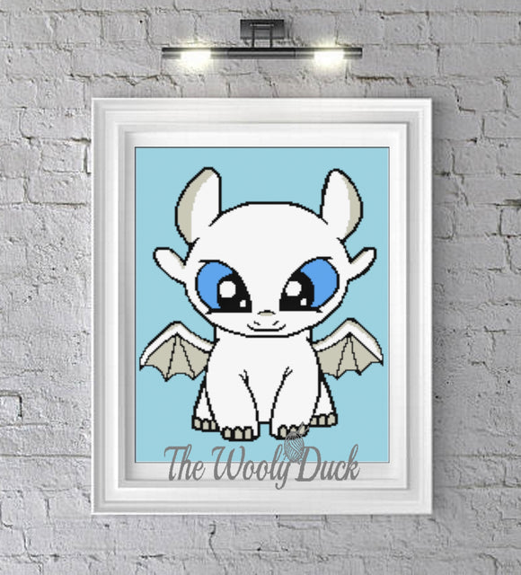 Cross Stitch Baby Light Fury Inspired Pattern