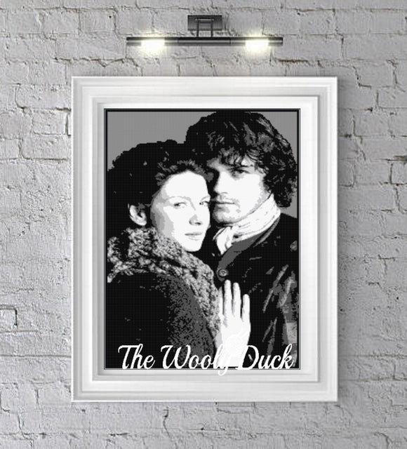 OUTLANDER  ( Claire and Jamie) 6 colours graphghan pattern for single crochet/cross stitch/ diamond painting