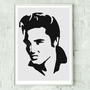 Elvis Presley Silhouette Cross Stitch Pattern