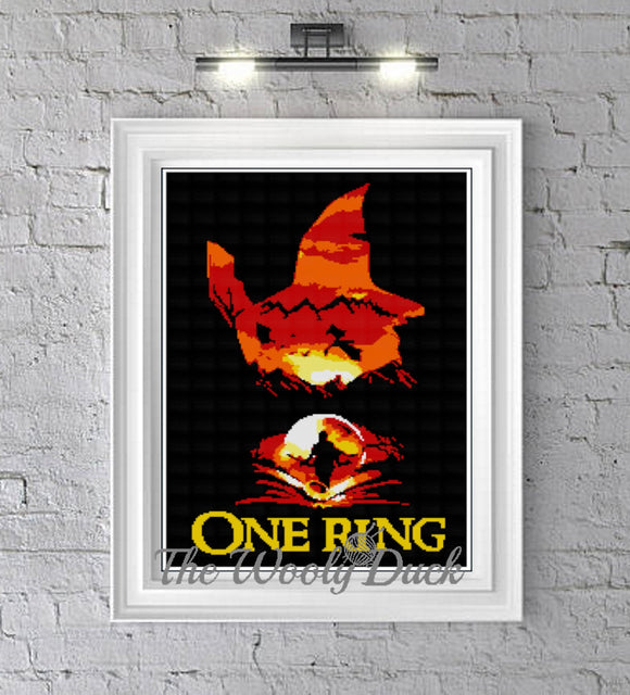 One Ring ,Hobbit inspired graphghan pattern for single crochet/cross stitch/ diamond painting