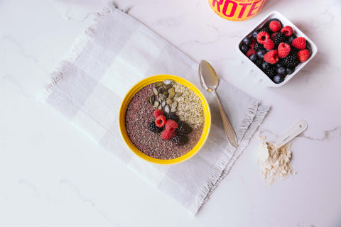 smoothie bol acai, fruits rouges, proteine vanille