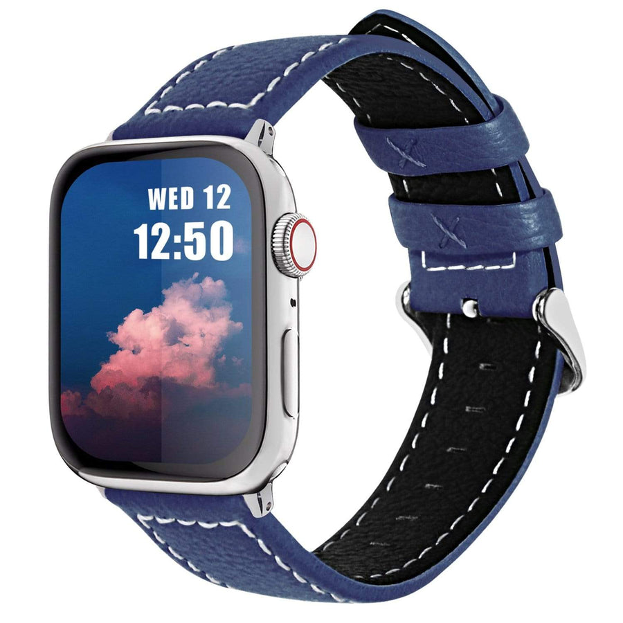 Apple Watch Band | Dark Blue Leather | Leechee Fullmosa 38mm/40mm