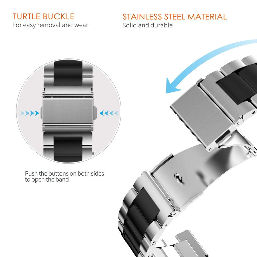 Apple Watch Band | Sliver & Black Stainless Steel Metal Fullmosa