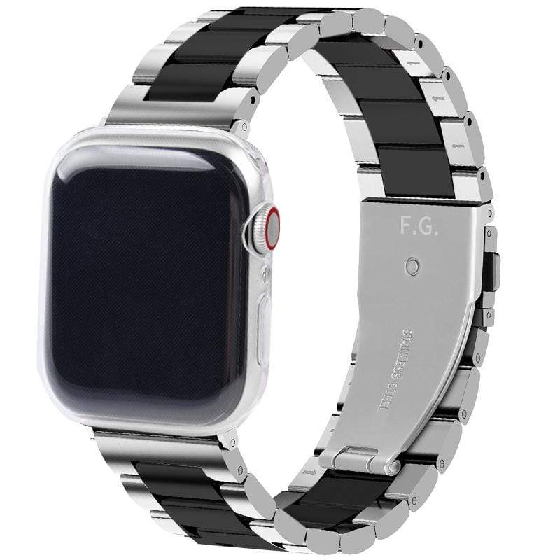Apple Watch Band | Sliver & Black Stainless Steel Metal Fullmosa 38mm/40mm