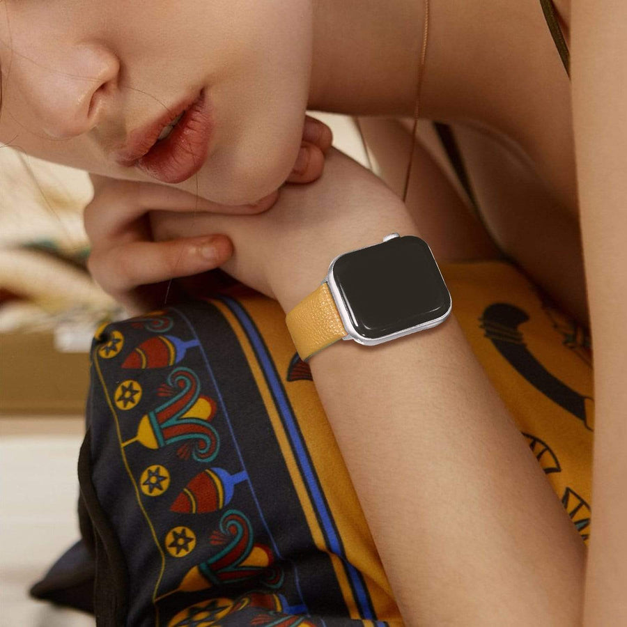 Apple Watch Band | Yellow Leather | Litchi Fullmosa