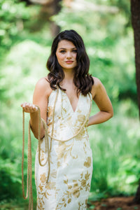 Gold and Ivory Sheath Dress