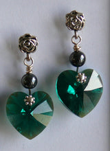 Load image into Gallery viewer, Green emerald Swarovski crystal heart antique silver-tone stud earrings
