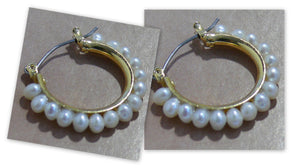 Freshwater pearls 25mm silver-tone or gold-tone hoop earrings