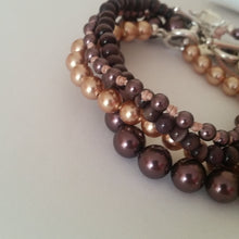 Load image into Gallery viewer, Rose gold Swarovski crystal pearls sterling silver bracelet