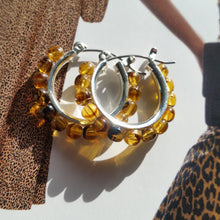 Load image into Gallery viewer, Tortoise shell glass beads 25mm silver-tone hoop earrings