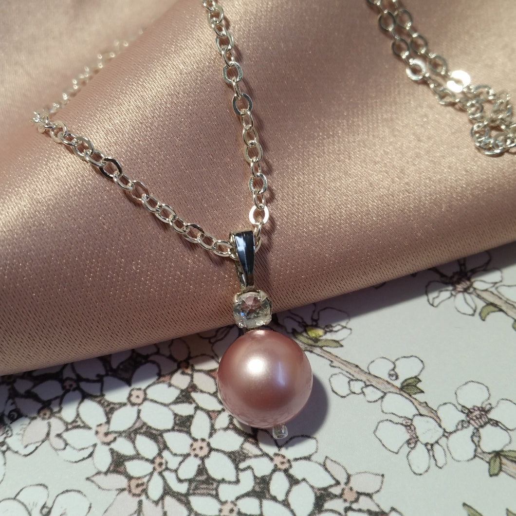 Rhinestone and powder rose Swarovski crystal pearl drop silver-tone necklace