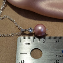 Load image into Gallery viewer, Rhinestone and powder rose Swarovski crystal pearl drop silver-tone necklace