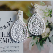 Load image into Gallery viewer, White lace drop and Swarovski crystal pearls stud earrings