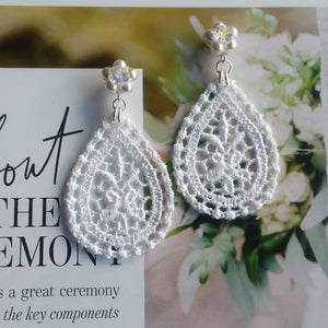 White lace drop and Swarovski crystal pearls stud earrings
