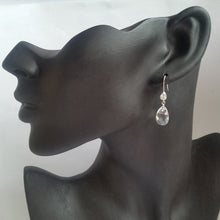 Load image into Gallery viewer, Crystal clear Cubic Zirconia and Swarovski crystal teardrop sterling silver earrings