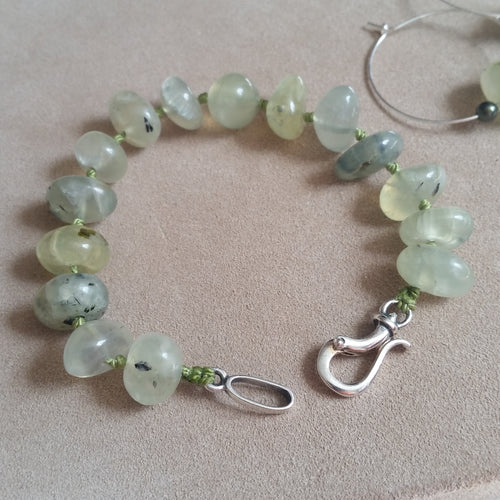 Green Prehnite nuggets handknotted sterling silver hook clasp bracelet