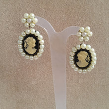 Load image into Gallery viewer, Cameo cream glass bead pearl flower shaped stud drop earrings