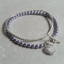 Load image into Gallery viewer, Lavender Swarovski crystal pearl beads, silver finished clasp bracelet SET