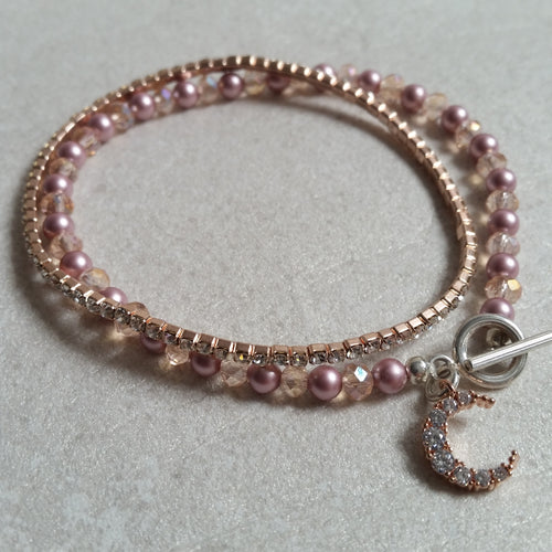 Pink Swarovski crystal pearl and crystal beads, sterling silver clasp bracelet SET