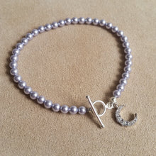 Load image into Gallery viewer, Lavender Swarovski crystal pearl beads, silver finished clasp bracelet