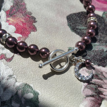Load image into Gallery viewer, Burgundy Swarovski crystal pearl beads, rhinestones, silver tone clasp bracelet with charms
