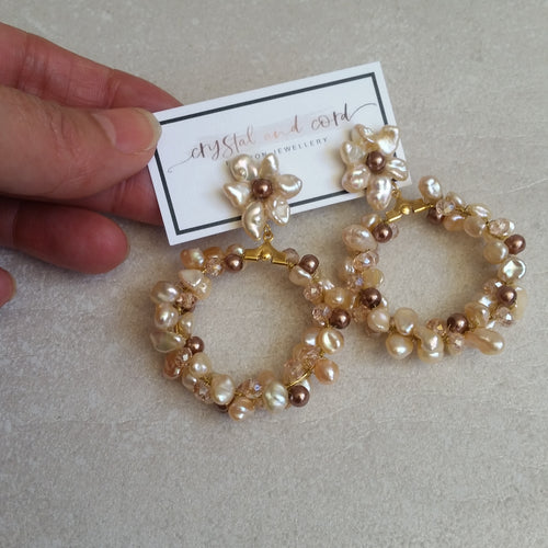 Blush beige freshwater pearls flower shaped stud hoop earrings