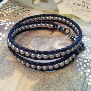 Swarovski crystal pearl beads and satin cord double wrap bracelet
