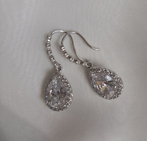 Cubic Zirconia crystal clear silver or gold tone drop earrings