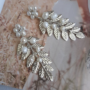 White freshwater pearls flower stud and silver leaf statement drop earrings