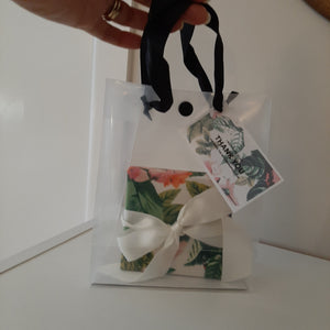 Gift box, clear carry bag and gift tag
