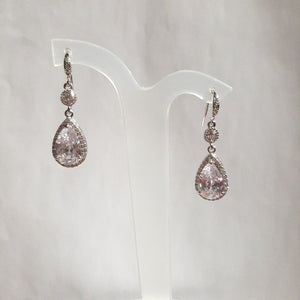 Cubic Zirconia crystal clear silver-tone pear shaped drop and stud earrings