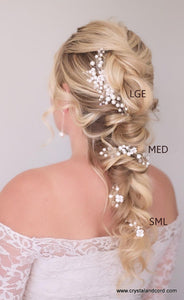 Pearlescent white with rhinestone centered flowers, crystal beads LARGE SIZE hair vine on silver comb