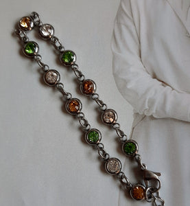 Stainless Steel and rhinestone chain bracelet