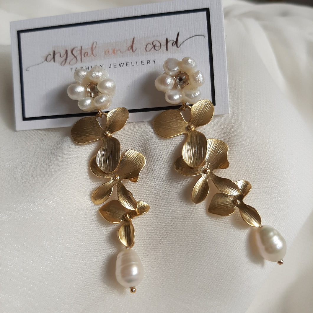 Lillie - freshwater pearls and matt gold-tone triple orchid flower drop stud earrings