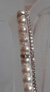 White Swarovski crystal pearls, rhinestone rondelles and sterling silver clasp bracelet