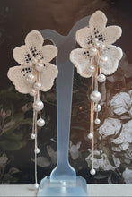 Load image into Gallery viewer, Swarovski crystal pearls long cascading orchid shaped flower stud earrings