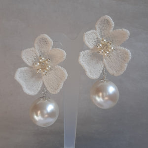 White ivory lace flower and Swarovski crystal pearl statement drop stud earrings