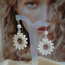 Load image into Gallery viewer, Pearls white cultured freshwater beaded hoop silver-tone earrings